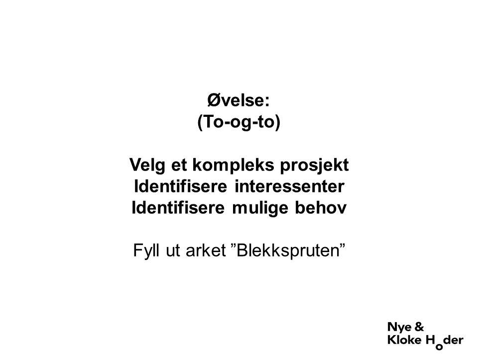 Øvelse: (To-og-to) Velg et kompleks prosjekt Identifisere interessenter Identifisere mulige behov Fyll ut arket Blekkspruten