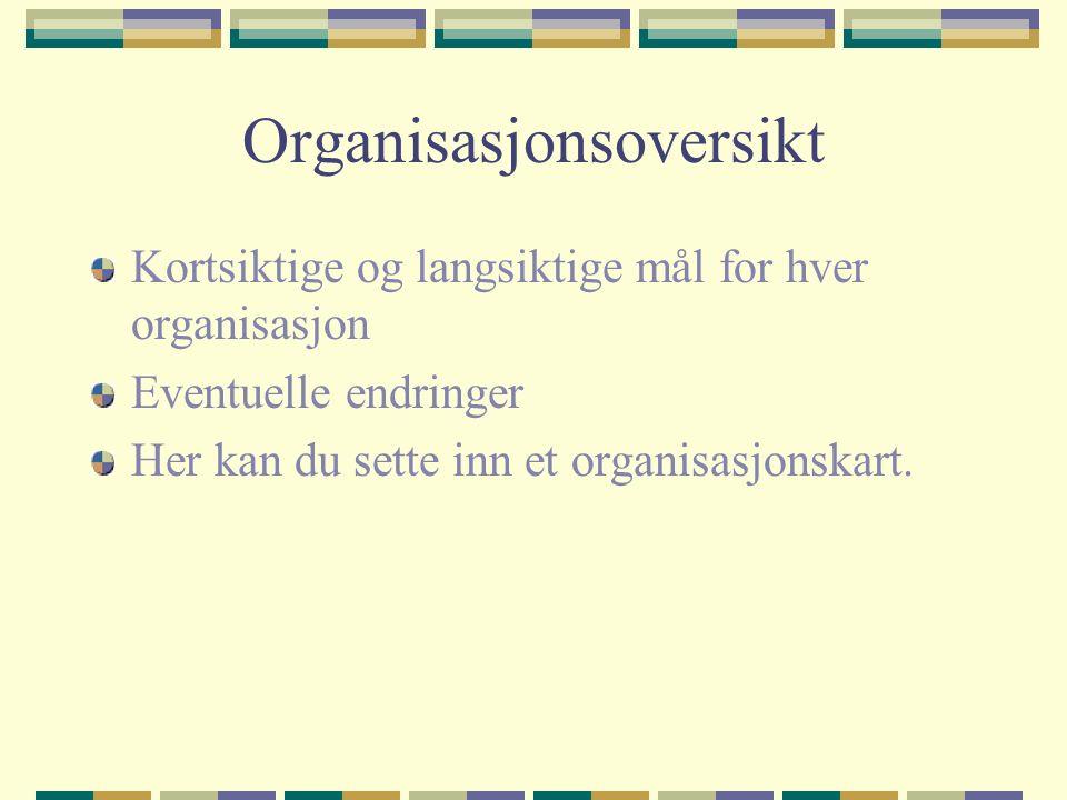 Organisasjonsoversikt Kortsiktige og langsiktige mål for hver organisasjon Eventuelle endringer Her kan du sette inn et organisasjonskart.