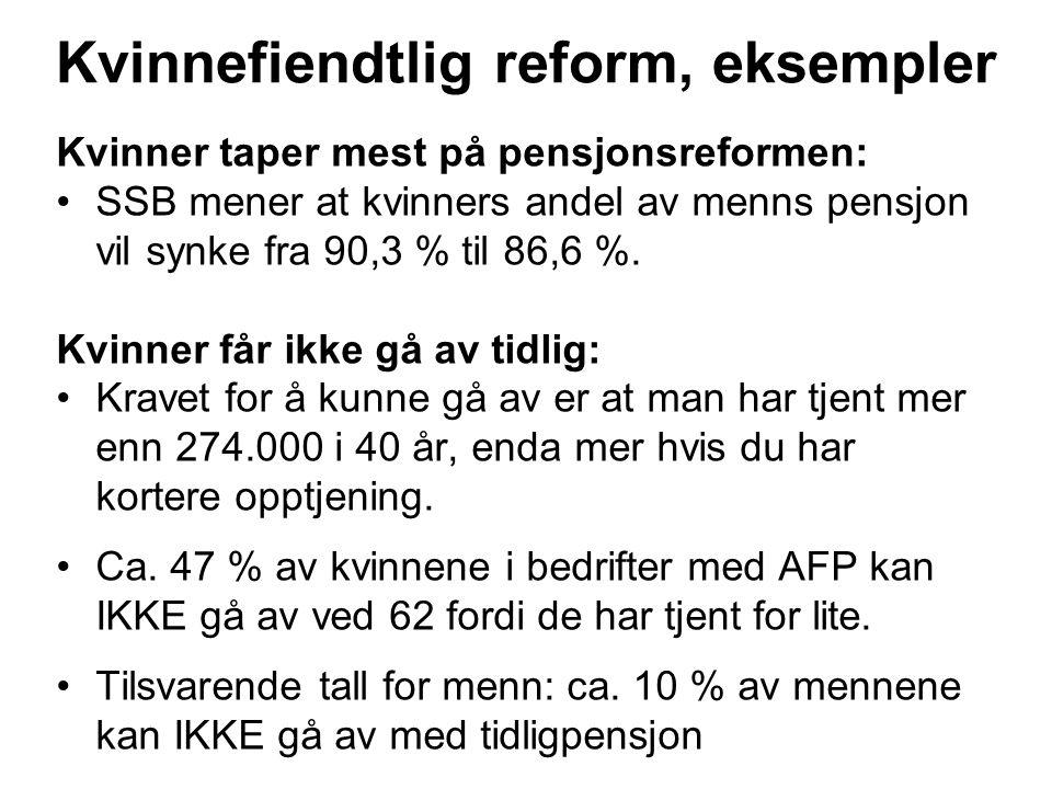 Kvinnefiendtlig reform, eksempler Kvinner taper mest på pensjonsreformen: SSB mener at kvinners andel av menns pensjon vil synke fra 90,3 % til 86,6 %.