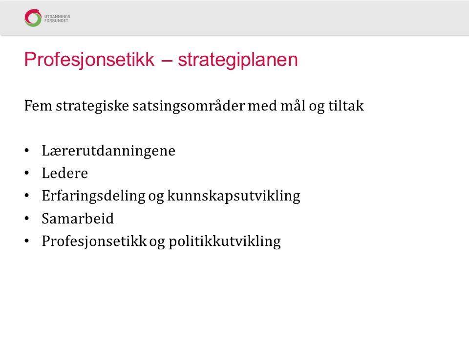 Profesjonsetikk – strategiplanen Fem strategiske satsingsområder med mål og tiltak Lærerutdanningene Ledere Erfaringsdeling og kunnskapsutvikling Samarbeid Profesjonsetikk og politikkutvikling
