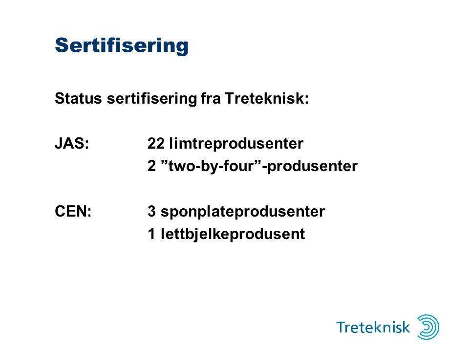 """Sertifisering Status sertifisering fra Treteknisk: JAS:22 limtreprodusenter 2 """"two-by-four""""-produsenter CEN:3 sponplateprodusenter 1 lettbjelkeproduse"""