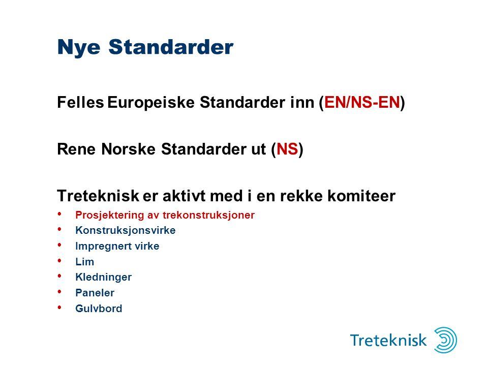 Nye Standarder Felles Europeiske Standarder inn (EN/NS-EN) Rene Norske Standarder ut (NS) Treteknisk er aktivt med i en rekke komiteer Prosjektering av trekonstruksjoner Konstruksjonsvirke Impregnert virke Lim Kledninger Paneler Gulvbord