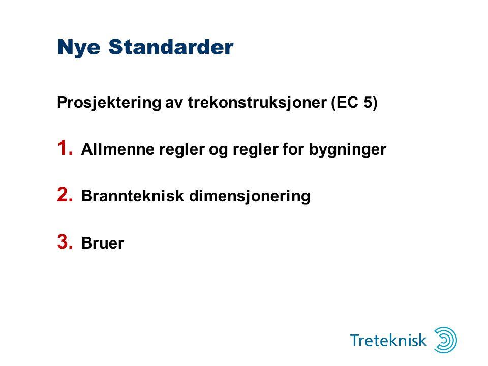 Nye Standarder Prosjektering av trekonstruksjoner (EC 5) 1. Allmenne regler og regler for bygninger 2. Brannteknisk dimensjonering 3. Bruer