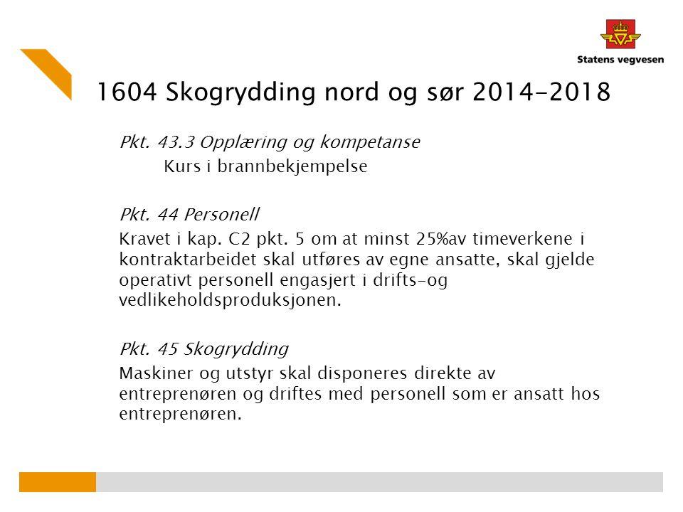 1604 Skogrydding nord og sør 2014-2018 Pkt. 43.3 Opplæring og kompetanse Kurs i brannbekjempelse Pkt. 44 Personell Kravet i kap. C2 pkt. 5 om at minst