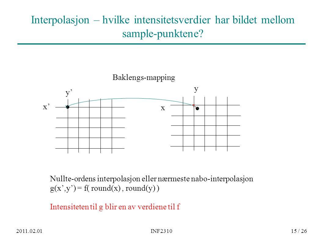 2011.02.01INF231015 / 26 Interpolasjon – hvilke intensitetsverdier har bildet mellom sample-punktene.
