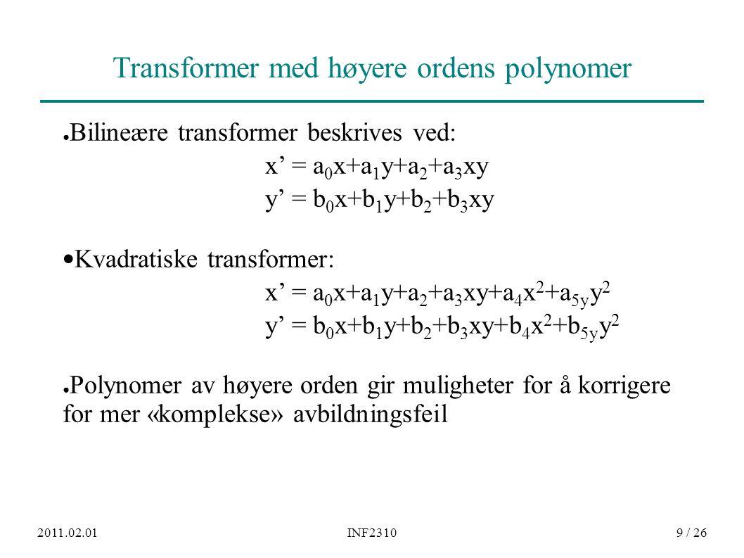 2011.02.01INF231020 / 26 Kant-glorie-effekter / ringing ved kubisk interpolasjon Negative lobe-verdier