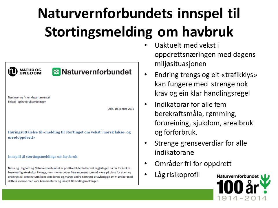Naturvernforbundets innspel til Stortingsmelding om havbruk Uaktuelt med vekst i oppdrettsnæringen med dagens miljøsituasjonen Endring trengs og eit «