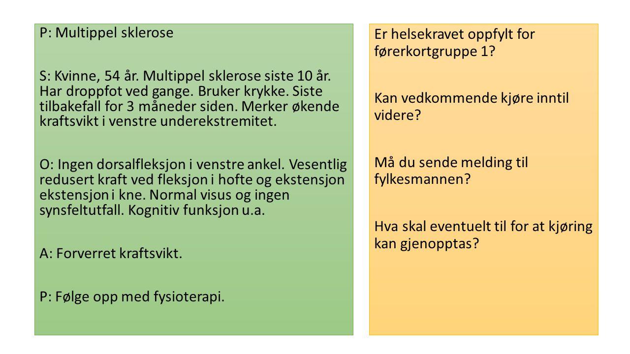 P: Multippel sklerose S: Kvinne, 54 år. Multippel sklerose siste 10 år.