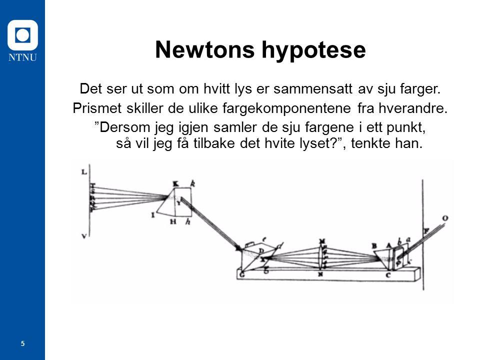 6 Newtons fargesirkel Optics 1704 Newton skrev i 1671 at det var nødvendig med 7 farger for å få hvitt lys.