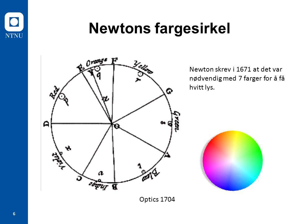 37 Goethes kantspekter Farger dannes i overgangene mellom lys og mørke Det er noe Newton har misforstått
