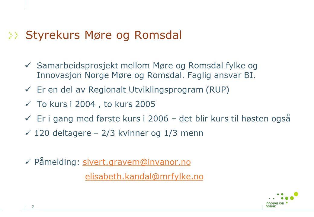 2 Styrekurs Møre og Romsdal Samarbeidsprosjekt mellom Møre og Romsdal fylke og Innovasjon Norge Møre og Romsdal.