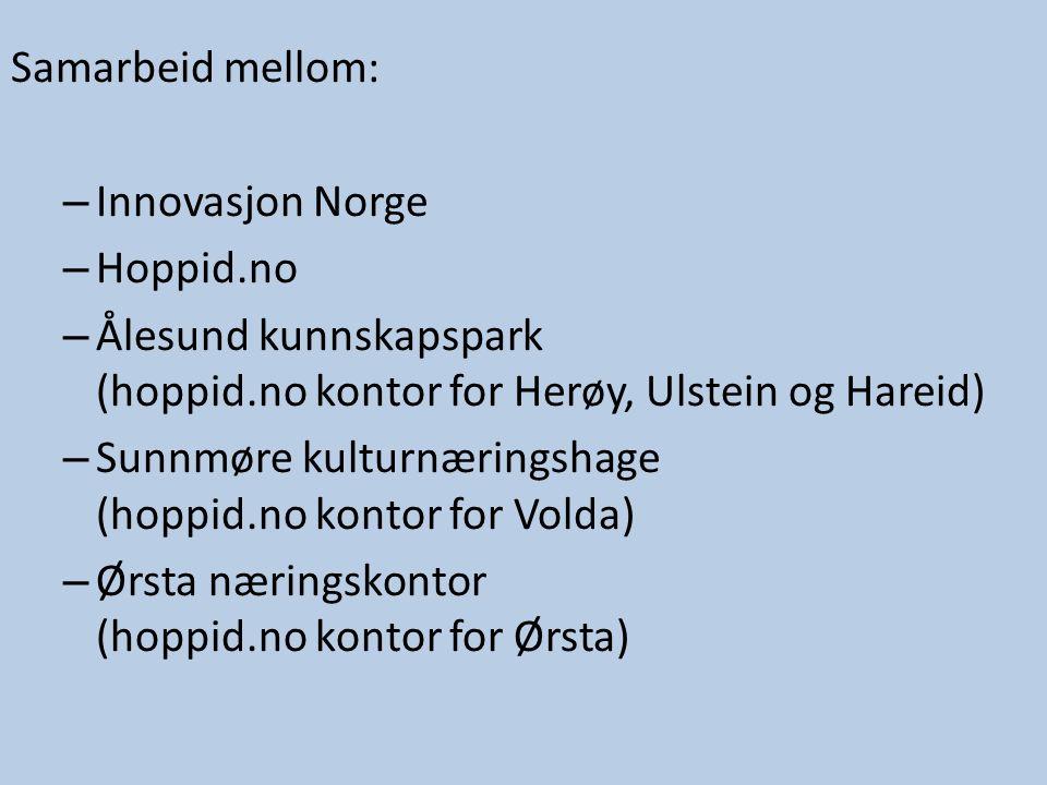 Samarbeid mellom: – Innovasjon Norge – Hoppid.no – Ålesund kunnskapspark (hoppid.no kontor for Herøy, Ulstein og Hareid) – Sunnmøre kulturnæringshage