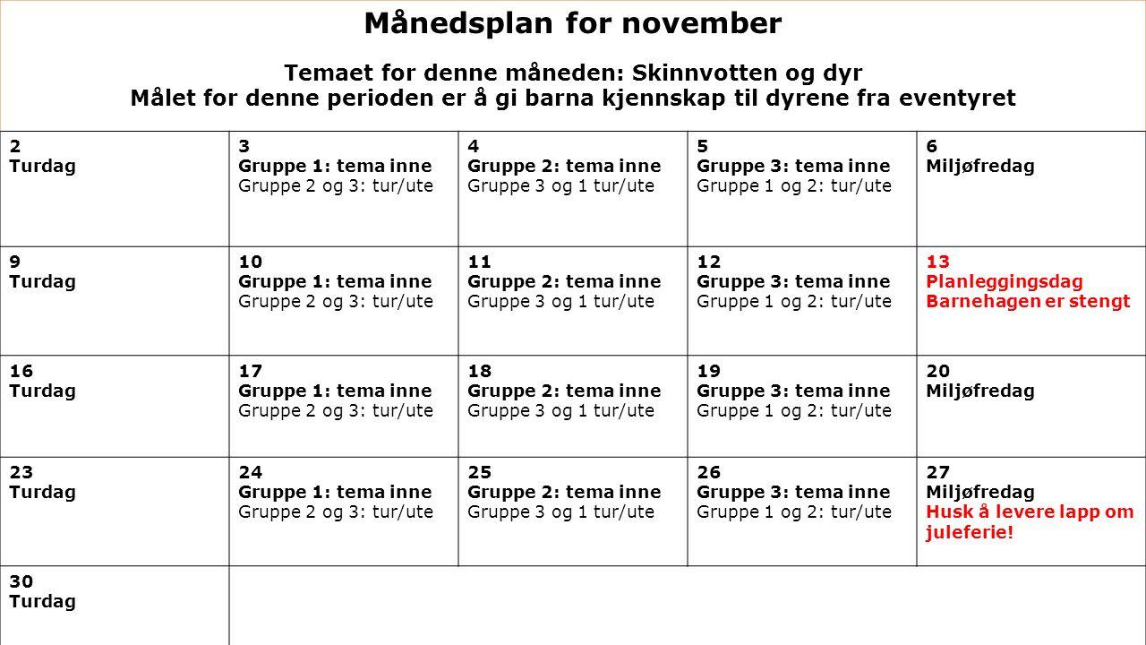 Månedsplan for november Temaet for denne måneden: Skinnvotten og dyr Målet for denne perioden er å gi barna kjennskap til dyrene fra eventyret 2 Turda