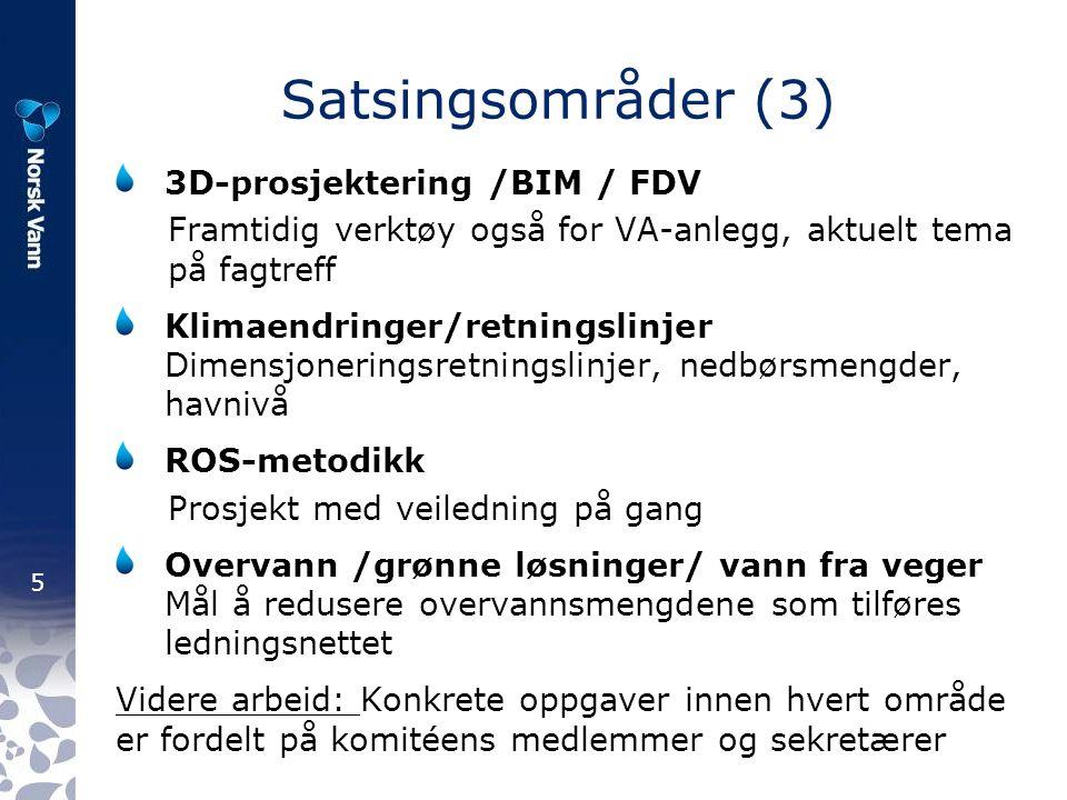 5 Satsingsområder (3) 3D-prosjektering /BIM / FDV Framtidig verktøy også for VA-anlegg, aktuelt tema på fagtreff Klimaendringer/retningslinjer Dimensj