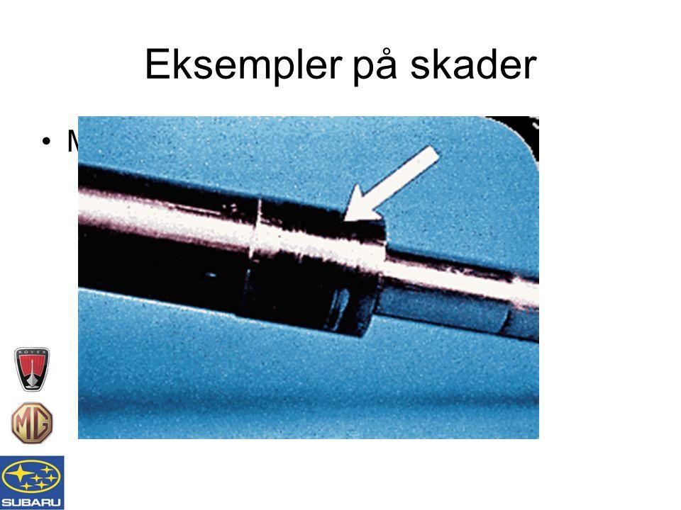 Eksempler på skader Metallavleiring fra lager på akselen