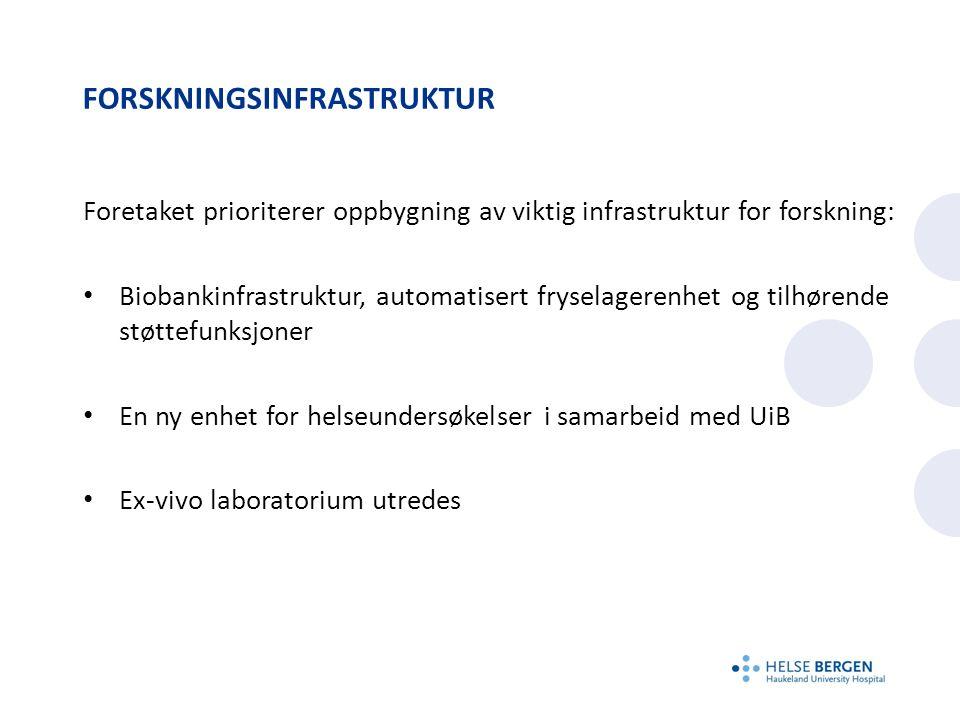 FORSKNINGSINFRASTRUKTUR Foretaket prioriterer oppbygning av viktig infrastruktur for forskning: Biobankinfrastruktur, automatisert fryselagerenhet og tilhørende støttefunksjoner En ny enhet for helseundersøkelser i samarbeid med UiB Ex-vivo laboratorium utredes