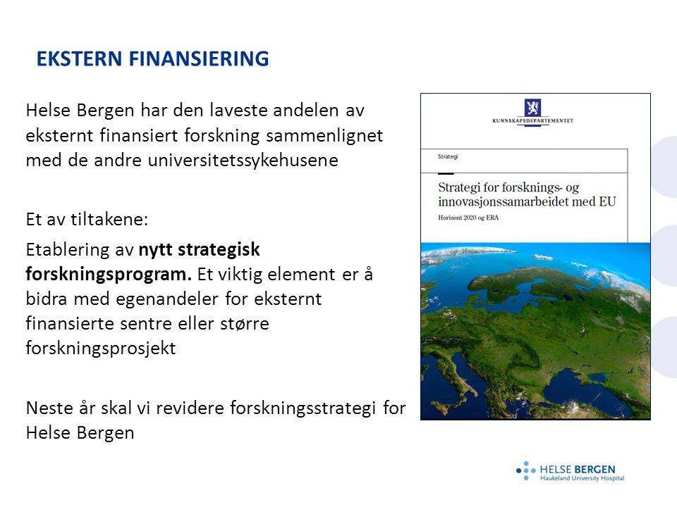 EKSTERN FINANSIERING Helse Bergen har den laveste andelen av eksternt finansiert forskning sammenlignet med de andre universitetssykehusene Et av tiltakene: Etablering av nytt strategisk forskningsprogram.