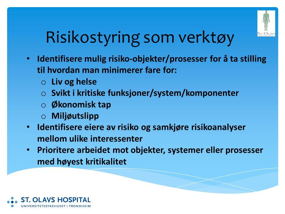 Risikostyring som verktøy Identifisere mulig risiko-objekter/prosesser for å ta stilling til hvordan man minimerer fare for: o Liv og helse o Svikt i