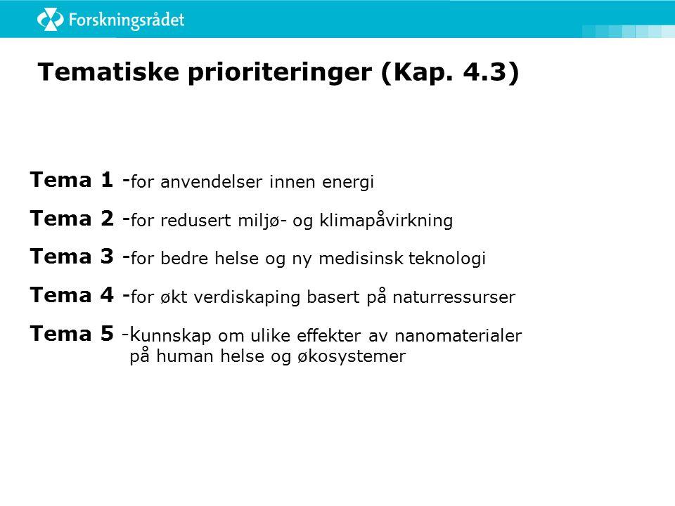 Tematiske prioriteringer (Kap.