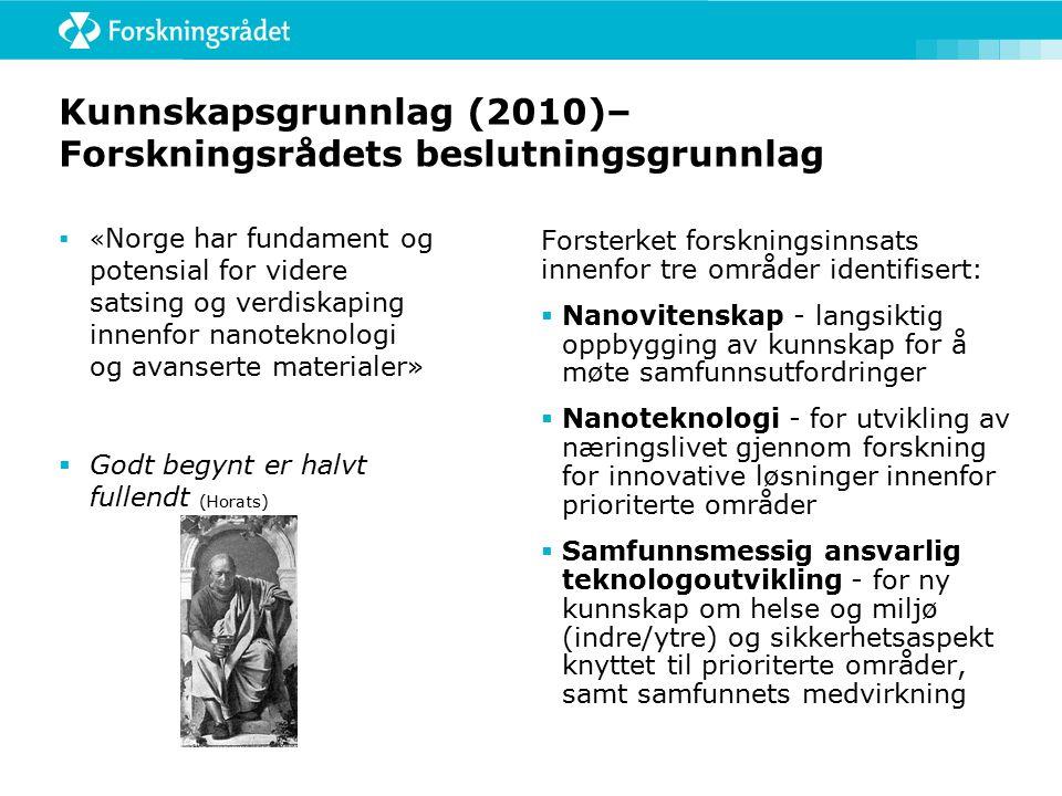 Kunnskapsgrunnlag (2010)– Forskningsrådets beslutningsgrunnlag  « Norge har fundament og potensial for videre satsing og verdiskaping innenfor nanoteknologi og avanserte materialer»  Godt begynt er halvt fullendt (Horats) Forsterket forskningsinnsats innenfor tre områder identifisert:  Nanovitenskap - langsiktig oppbygging av kunnskap for å møte samfunnsutfordringer  Nanoteknologi - for utvikling av næringslivet gjennom forskning for innovative løsninger innenfor prioriterte områder  Samfunnsmessig ansvarlig teknologoutvikling - for ny kunnskap om helse og miljø (indre/ytre) og sikkerhetsaspekt knyttet til prioriterte områder, samt samfunnets medvirkning