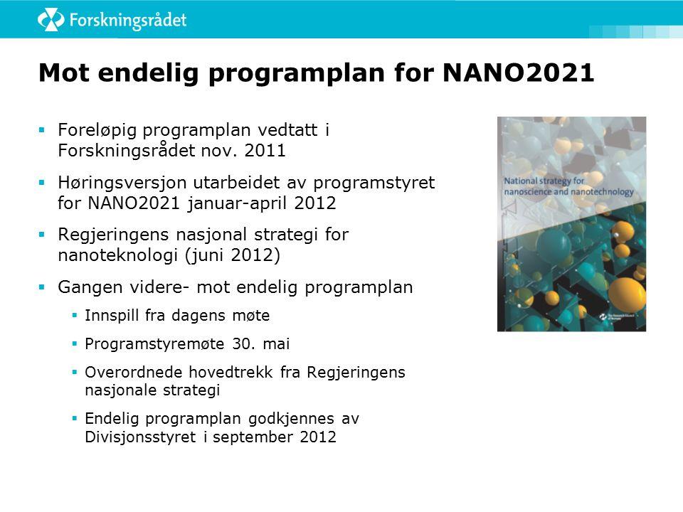 Mot endelig programplan for NANO2021  Foreløpig programplan vedtatt i Forskningsrådet nov.