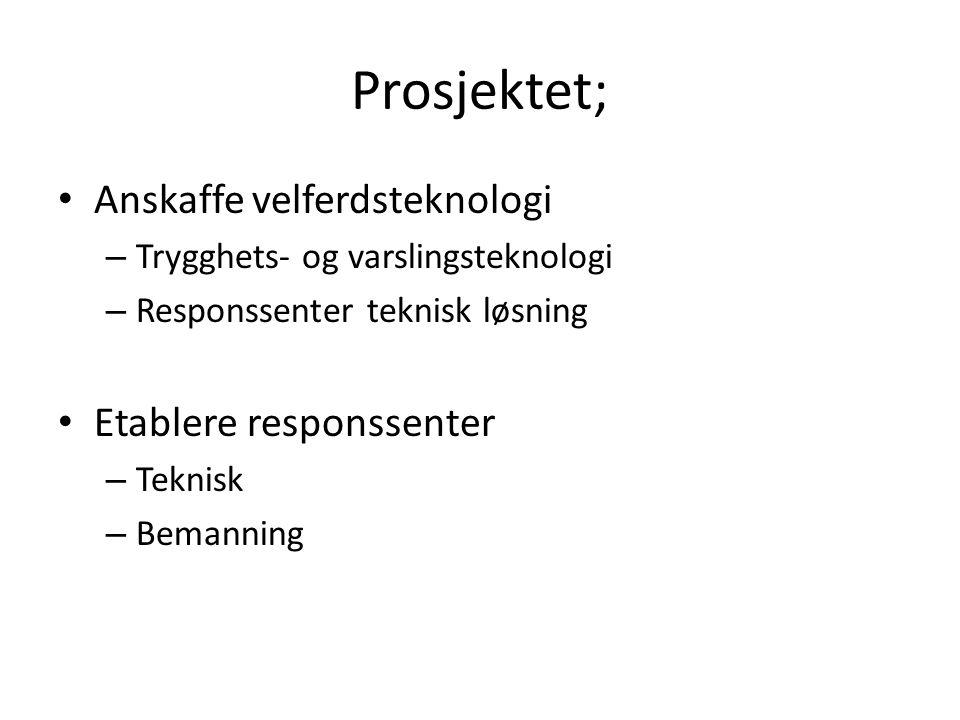 Prosjektet; Anskaffe velferdsteknologi – Trygghets- og varslingsteknologi – Responssenter teknisk løsning Etablere responssenter – Teknisk – Bemanning
