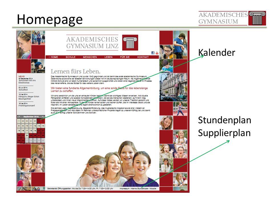 Homepage Kalender Stundenplan Supplierplan
