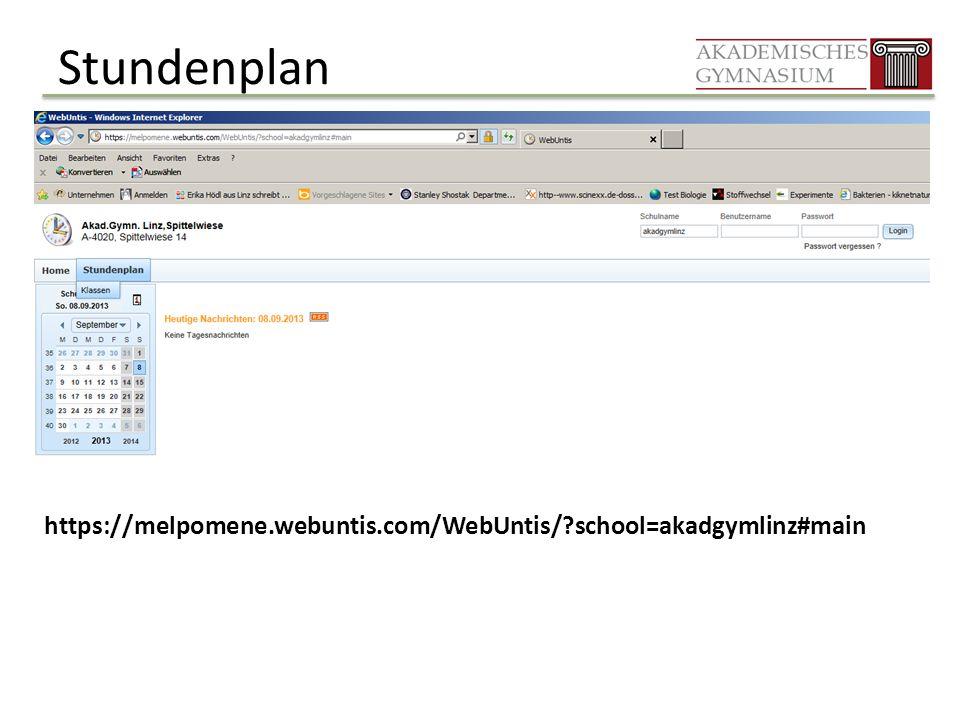 Stundenplan https://melpomene.webuntis.com/WebUntis/?school=akadgymlinz#main