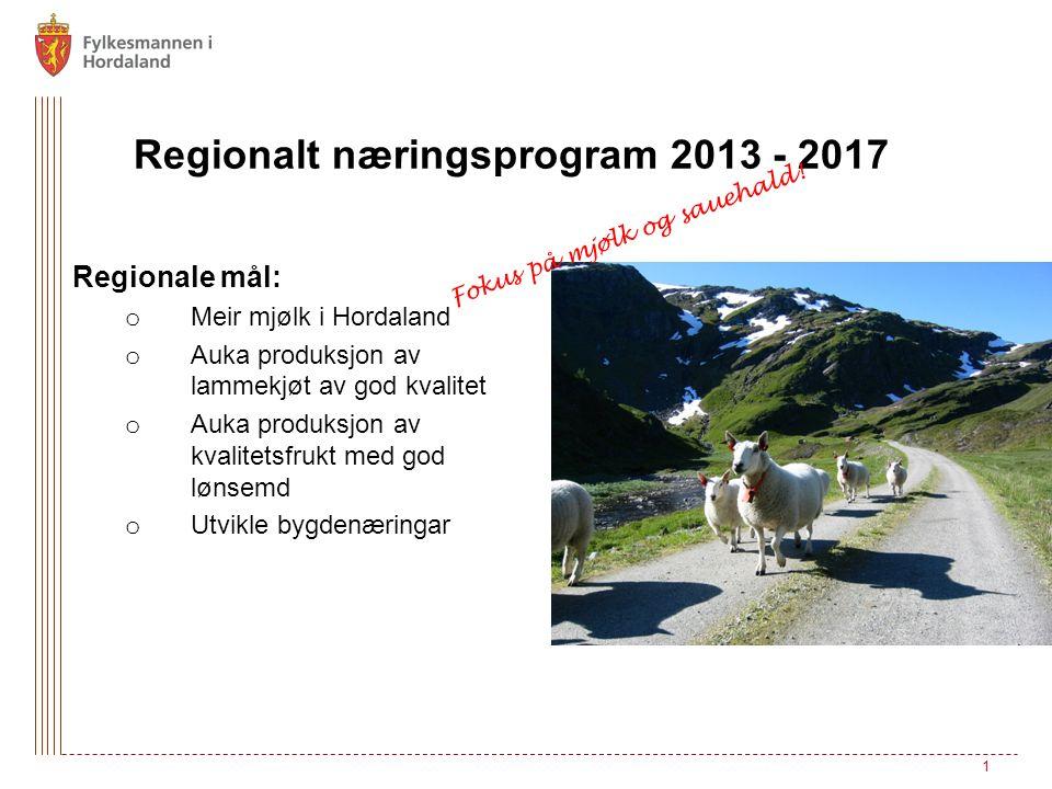 Regionalt næringsprogram 2013 - 2017 Regionale mål: o Meir mjølk i Hordaland o Auka produksjon av lammekjøt av god kvalitet o Auka produksjon av kvalitetsfrukt med god lønsemd o Utvikle bygdenæringar 1 Fokus på mjølk og sauehald!