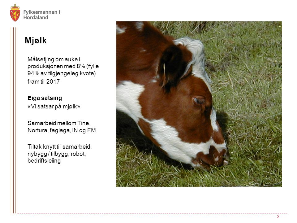 Mjølk Målsetjing om auke i produksjonen med 8% (fylle 94% av tilgjengeleg kvote) fram til 2017 Eiga satsing «Vi satsar på mjølk» Samarbeid mellom Tine, Nortura, faglaga, IN og FM Tiltak knytt til samarbeid, nybygg / tilbygg, robot, bedriftsleiing 2