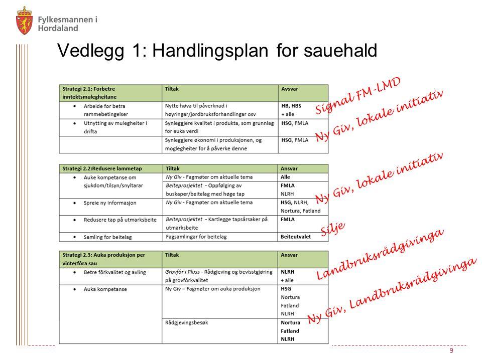 9 Vedlegg 1: Handlingsplan for sauehald Signal FM-LMD Ny Giv, lokale initiativ Silje Ny Giv, lokale initiativ Landbruksrådgivinga Ny Giv, Landbruksrådgivinga