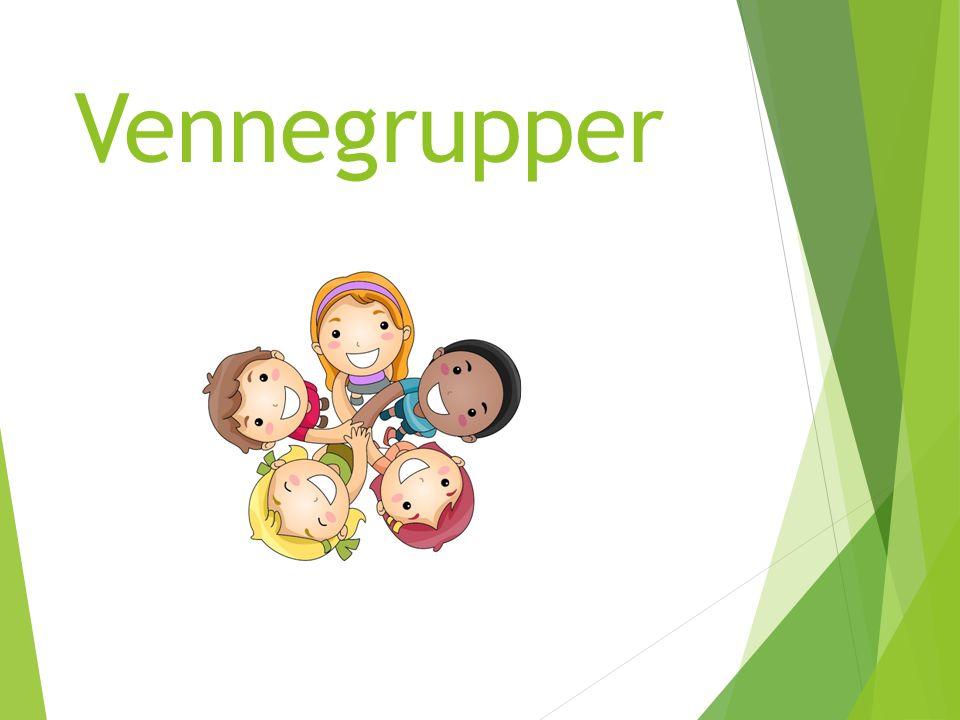 KJENNETEGN PÅ VENNEGRUPPER:  Faste smågrupper som holder sammen over tid  Grupper sammensatt av lærer  Gutter og jenter i samme gruppe eller grupper etter kjønn
