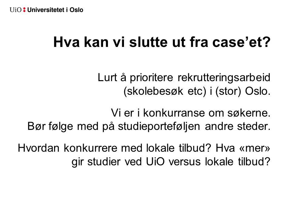 Hva kan vi slutte ut fra case'et? Lurt å prioritere rekrutteringsarbeid (skolebesøk etc) i (stor) Oslo. Vi er i konkurranse om søkerne. Bør følge med