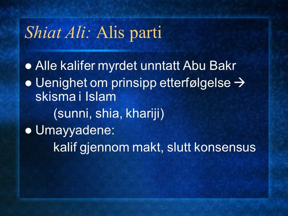 Shiat Ali: Alis parti Alle kalifer myrdet unntatt Abu Bakr Uenighet om prinsipp etterfølgelse  skisma i Islam (sunni, shia, khariji) Umayyadene: kalif gjennom makt, slutt konsensus