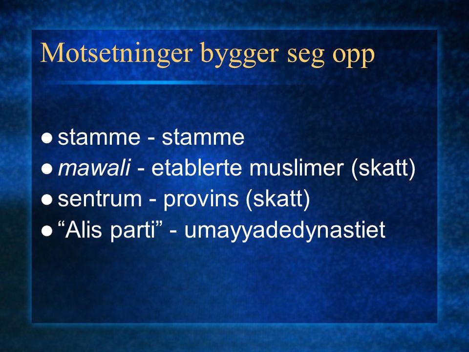 Motsetninger bygger seg opp stamme - stamme mawali - etablerte muslimer (skatt) sentrum - provins (skatt) Alis parti - umayyadedynastiet