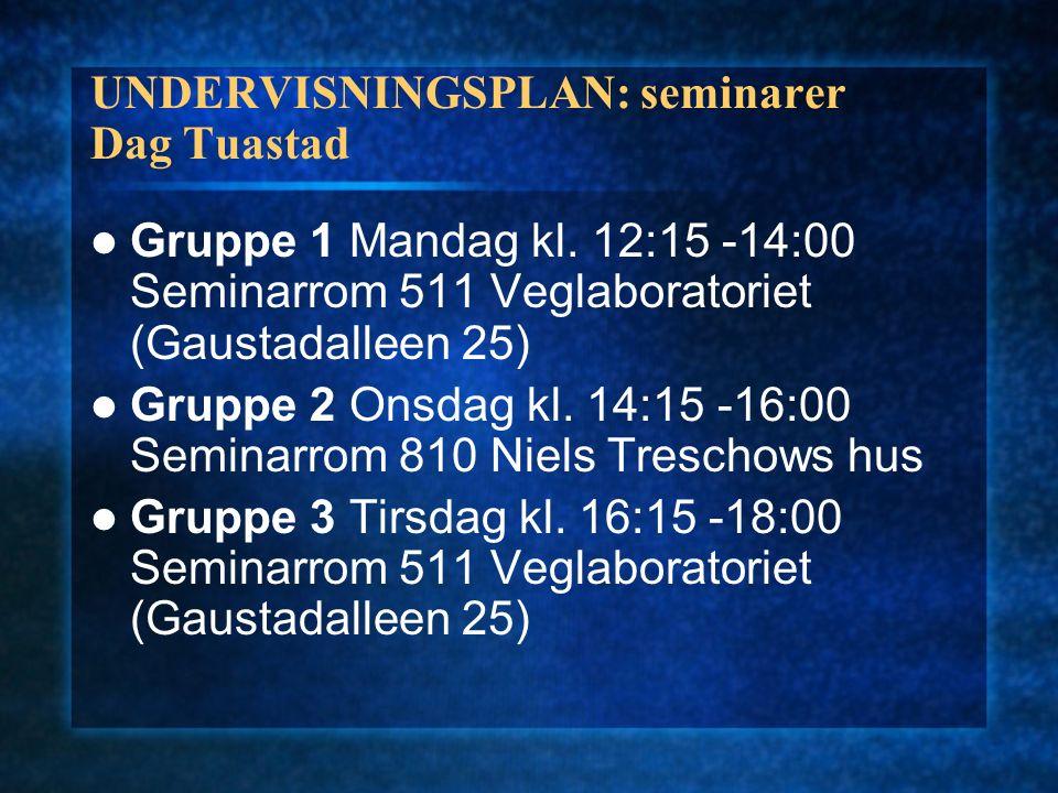 UNDERVISNINGSPLAN: seminarer Dag Tuastad Gruppe 1 Mandag kl. 12:15 -14:00 Seminarrom 511 Veglaboratoriet (Gaustadalleen 25) Gruppe 2 Onsdag kl. 14:15