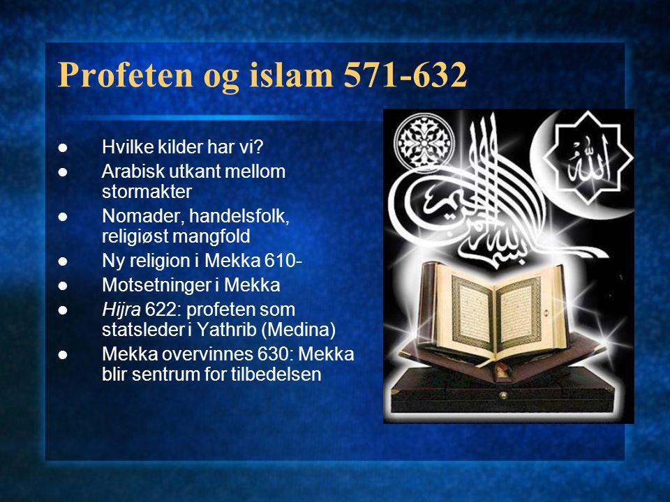 Profeten og islam 571-632 Hvilke kilder har vi? Arabisk utkant mellom stormakter Nomader, handelsfolk, religiøst mangfold Ny religion i Mekka 610- Mot