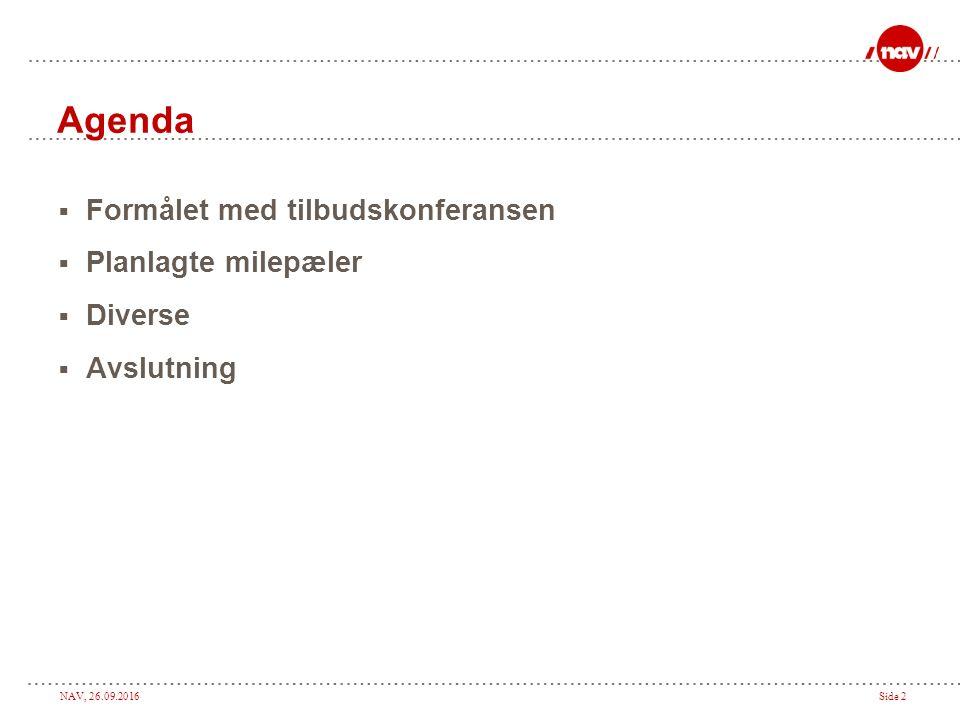 NAV, 26.09.2016Side 2 Agenda  Formålet med tilbudskonferansen  Planlagte milepæler  Diverse  Avslutning