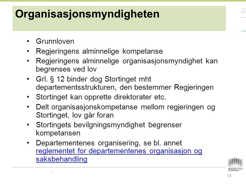 Organisasjonsmyndigheten Grunnloven Regjeringens alminnelige kompetanse Regjeringens alminnelige organisasjonsmyndighet kan begrenses ved lov Grl.