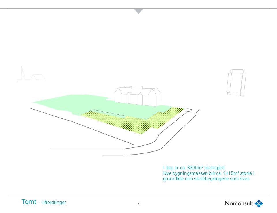 4 Tomt - Utfordringer I dag er ca. 8800m² skolegård.