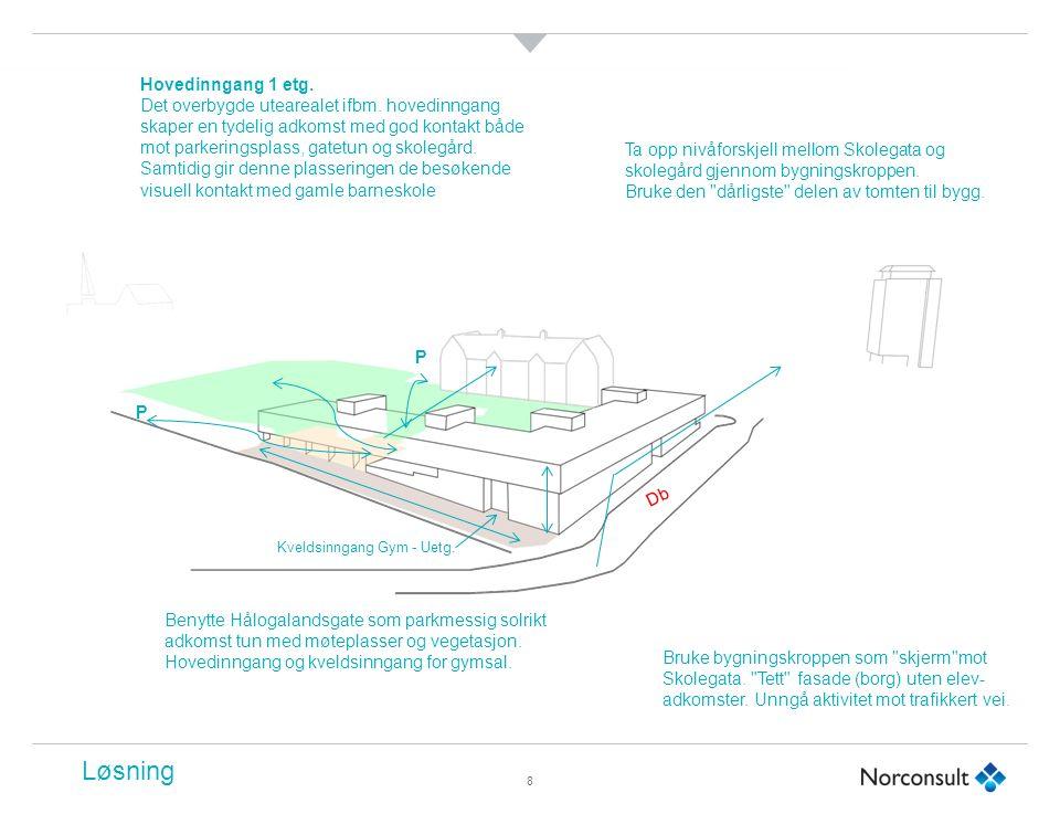 8 Db Bruke bygningskroppen som skjerm mot Skolegata.