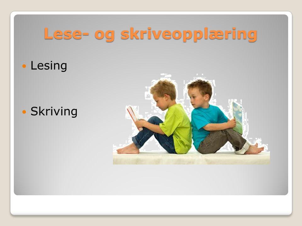 Lese- og skriveopplæring Lesing Skriving