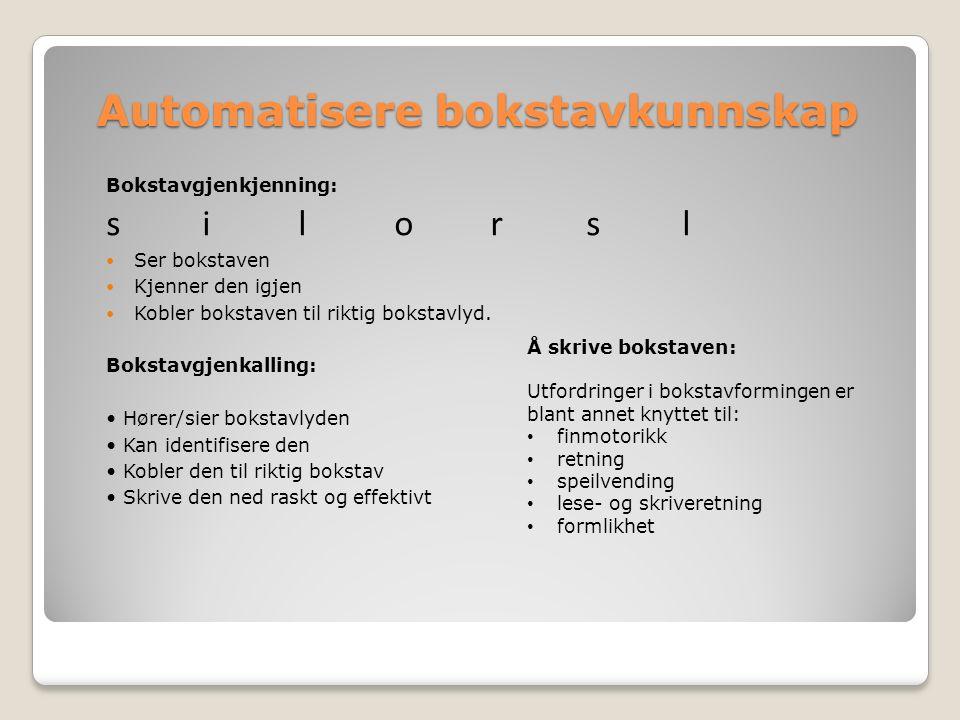 Automatisere bokstavkunnskap Bokstavgjenkjenning: silorsl Ser bokstaven Kjenner den igjen Kobler bokstaven til riktig bokstavlyd. Bokstavgjenkalling: