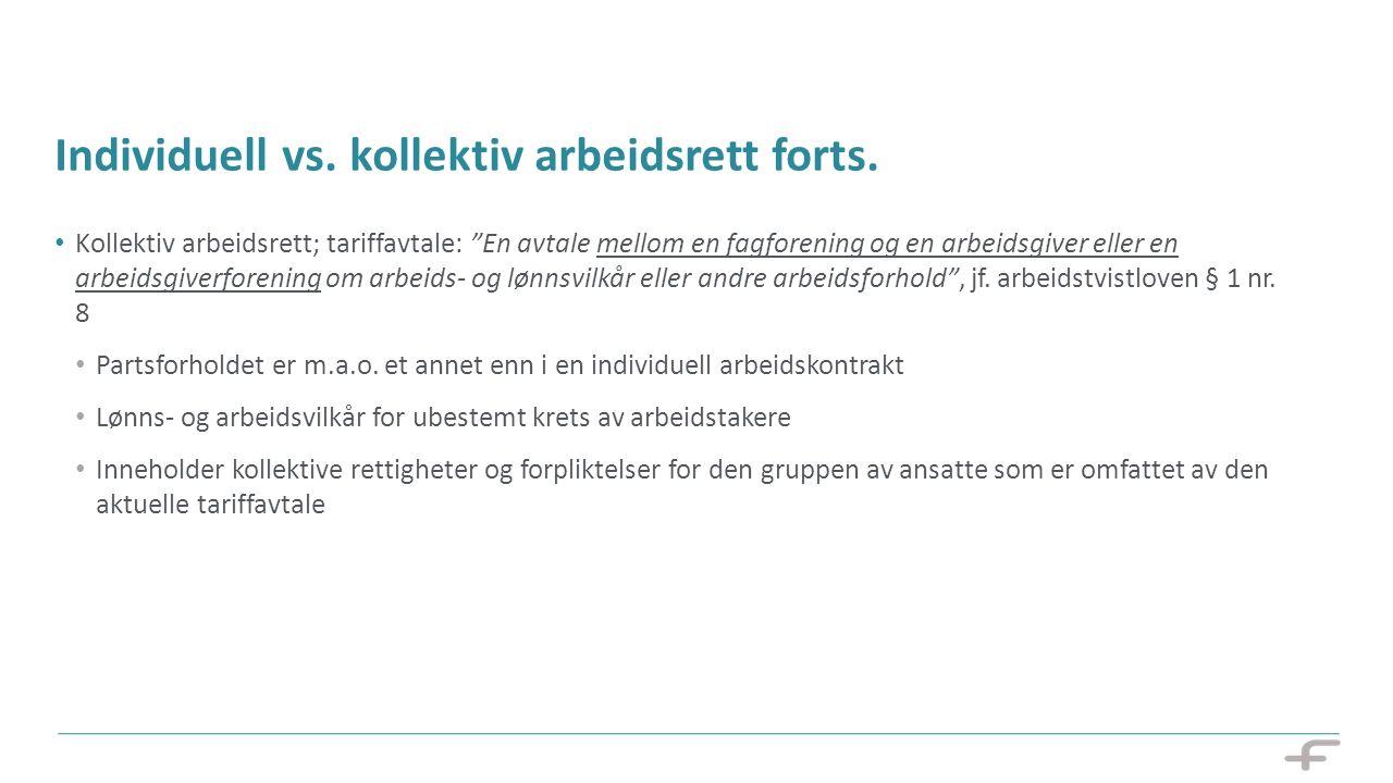 """12 Individuell vs. kollektiv arbeidsrett forts. Kollektiv arbeidsrett; tariffavtale: """"En avtale mellom en fagforening og en arbeidsgiver eller en arbe"""