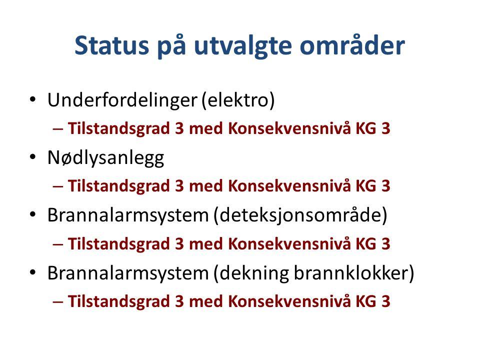 Status på utvalgte områder Underfordelinger (elektro) – Tilstandsgrad 3 med Konsekvensnivå KG 3 Nødlysanlegg – Tilstandsgrad 3 med Konsekvensnivå KG 3 Brannalarmsystem (deteksjonsområde) – Tilstandsgrad 3 med Konsekvensnivå KG 3 Brannalarmsystem (dekning brannklokker) – Tilstandsgrad 3 med Konsekvensnivå KG 3