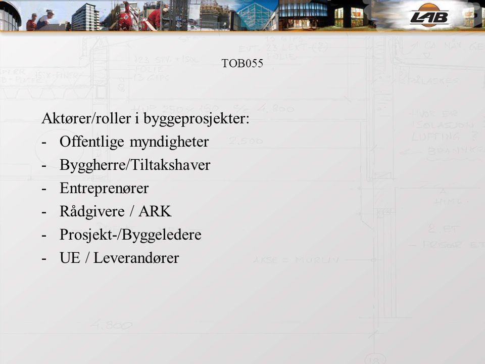 TOB055 Entreprisemodeller, kontrakter: -Totalentreprise -Generalentreprise -Hovedentreprise -Delt entreprise -OPS -Kontraktsstandarder