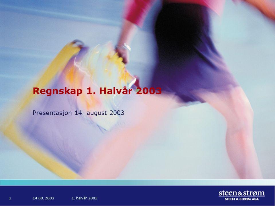 14.08. 20031. halvår 20031 Regnskap 1. Halvår 2003 Presentasjon 14. august 2003