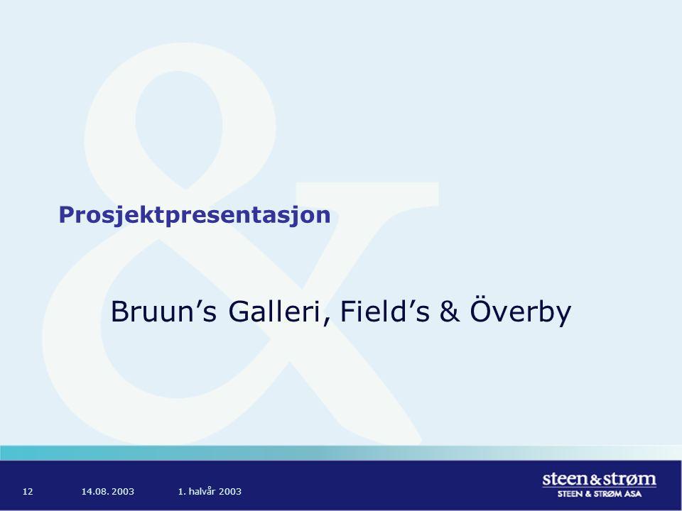 14.08. 20031. halvår 200312 Prosjektpresentasjon Bruun's Galleri, Field's & Överby