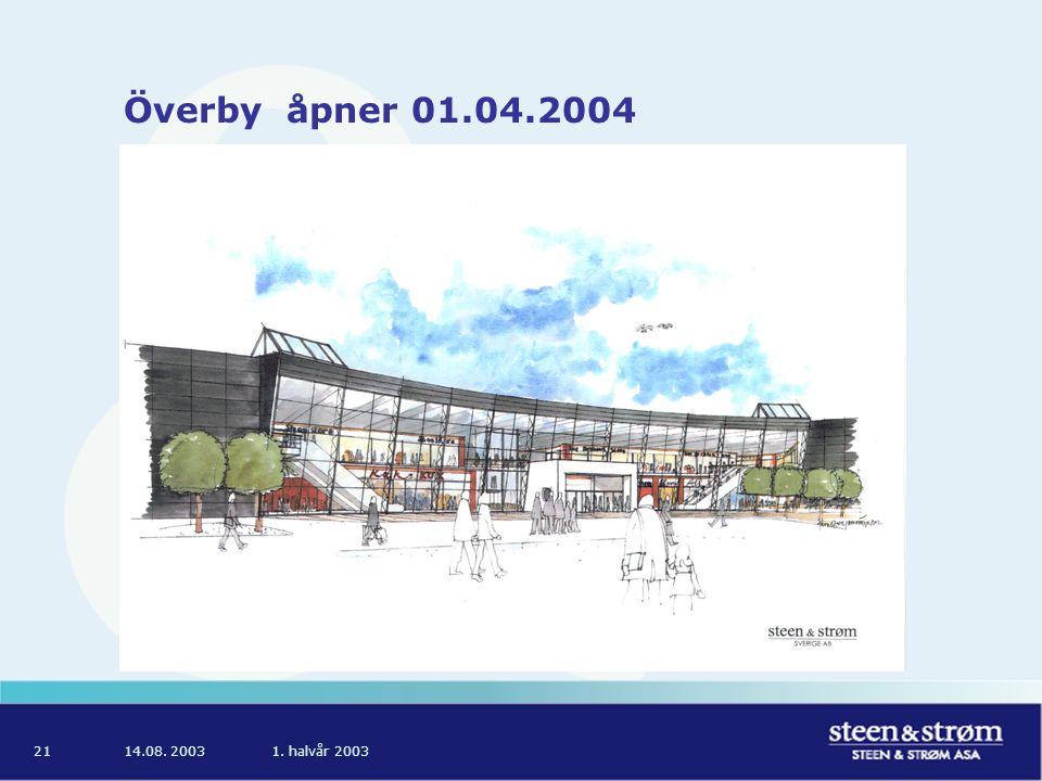 14.08. 20031. halvår 200321 Överby åpner 01.04.2004
