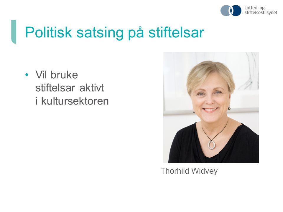 Vil bruke stiftelsar aktivt i kultursektoren Thorhild Widvey Politisk satsing på stiftelsar